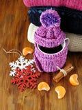 Té en una taza envuelta en la bufanda minúscula rodeada por segmentos del mandarín Imagen de archivo libre de regalías