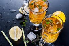 Té frío con el limón, la menta y el hielo Fotografía de archivo libre de regalías