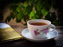 Té fragante, el chocolate suizo y el libro interesante que pueden ser mejores fotos de archivo libres de regalías