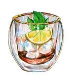 Té helado con la rama y el limón, ejemplo de la menta de la acuarela libre illustration