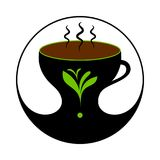 Té negro caliente en taza con vapor Etiqueta del té, muestra Ilustración del Vector