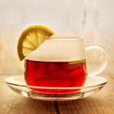 Té negro con las rebanadas del limón en una taza de cristal Imagenes de archivo