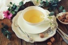 Té romántico que bebe con té del jazmín imagenes de archivo