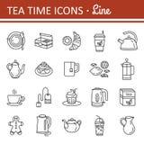 Té Sistema del icono del web del esquema Imagen de archivo libre de regalías