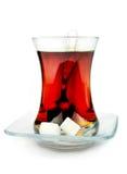 Té turco en vidrio tradicional. Foto de archivo libre de regalías