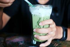 Té verde de la leche helada Té verde fresco Imagenes de archivo