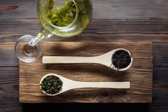 Té verde del chino tradicional de diversa fermentación y del arroz imágenes de archivo libres de regalías