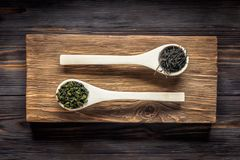 Té verde del chino tradicional de diversa fermentación y del arroz imagen de archivo