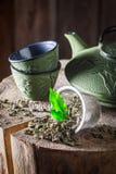 Té verde delicioso y fresco con la tetera y la taza del hierro Foto de archivo