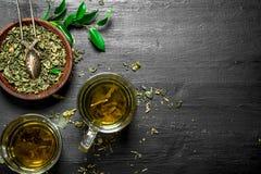 Té verde fragante preparado fotografía de archivo