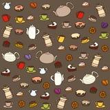 Té y dulces. Modelo inconsútil del vector Imagen de archivo libre de regalías