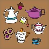 Té y galletas stock de ilustración