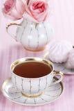 Té y rosas fotografía de archivo