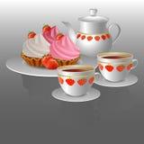 Té y tortas calientes Imágenes de archivo libres de regalías