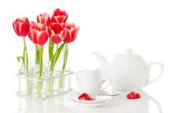 Té y tulipanes Fotos de archivo