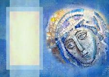 Técnica bizantina del icono del mosaico, alineada con los pedazos de vidrio coloreado en fondo del vintage Forme para las invitac Fotos de archivo