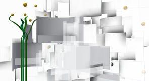 A técnica branca tira na planta vertical do sumário do whith do comosition 3d Imagens de Stock Royalty Free