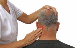 Técnica da massagem dos esportes nos músculos cervicais Fotografia de Stock Royalty Free