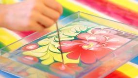 Técnica de Ebru de la pintura Pintura en el agua almacen de video