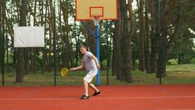Técnica do aperto do golpe do treinamento do jogador de tênis filme