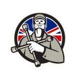 Técnico britânico Lug Wrench Union Jack Flag Circle Icon do pneumático ilustração stock