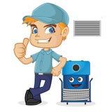 Técnico da ATAC que inclina-se na máquina da limpeza ilustração stock