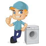 Técnico da ATAC que inclina-se na máquina de lavar ilustração royalty free