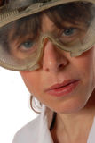 Técnico da senhora nova em óculos de proteção de segurança Fotos de Stock Royalty Free
