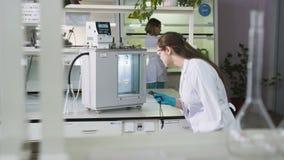 Técnico de laboratório Observes Chemical Process com temporizador video estoque