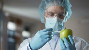 Técnico de laboratorio que inyecta manzanas con las sustancias químicas, añadiendo el olor y la jugosidad almacen de metraje de vídeo
