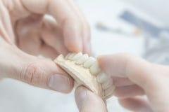 Técnico dental do dente médico que guarda protético no laboratório imagens de stock