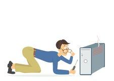Técnico joven del ordenador que intenta fijar un ordenador quebrado libre illustration