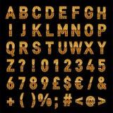 Téléchargement élégant de lettres et de nombres d'alphabet de vecteur d'or illustration de vecteur