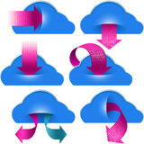 Téléchargement binaire de calcul de poche de flèches de données de stockage de nuage Photographie stock libre de droits
