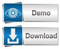 Téléchargement et Demo Buttons Blue Photographie stock libre de droits