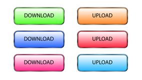 Téléchargez et téléchargez les boutons Images stock
