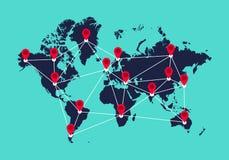 Télécommunication mondiale, concept de réseau de connexion Images libres de droits
