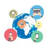 Télécommunication mondiale et information numérique de dispositif Image libre de droits