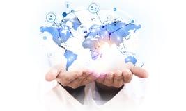 Télécommunication mondiale et mise en réseau Photo stock