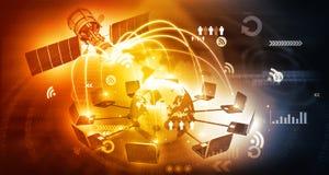 Télécommunication satellite globale Image libre de droits