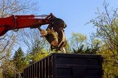 Télémanipulateur rassemblant des arbres près de la route images stock