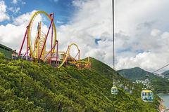 Téléphérique en parc d'océan, Hong Kong Images libres de droits