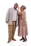 Téléphone africain supérieur de couples Image libre de droits