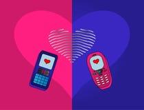 Téléphone-amoureux Photographie stock libre de droits
