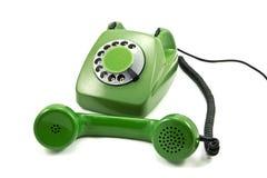 Téléphone analogique vert démodé Photo stock