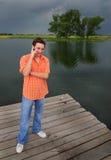 Téléphone au lac Photo libre de droits