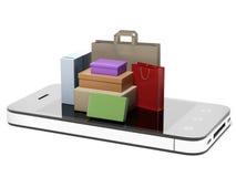 Téléphone avec la substance d'achats Photos libres de droits