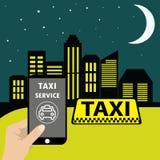 Téléphone avec le taxi d'interface sur un écran Application mobile Image stock