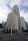 Téléphone Aviv City Center avec des gratte-ciel, Israël Images libres de droits