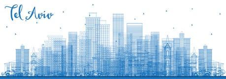 Téléphone Aviv Israel Skyline d'ensemble avec les bâtiments bleus illustration libre de droits
